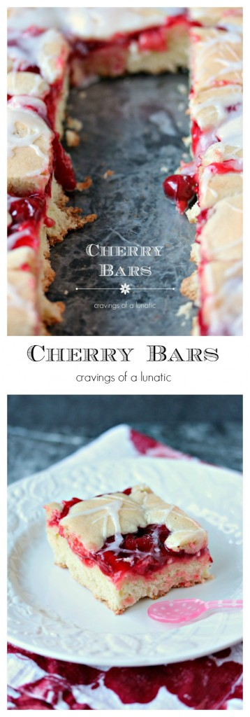Cherry Bars are incredibly easy to make and absolutely scrumptious. These bars will be a real hit with all your friends and family!