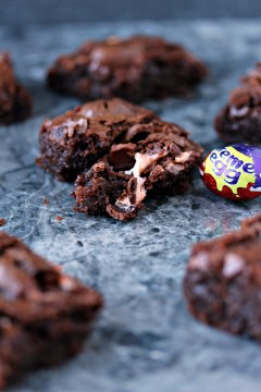 Creme Egg Brownies on a countertop t