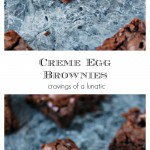 collage image of creme egg brownies cooked and cooling on a counter
