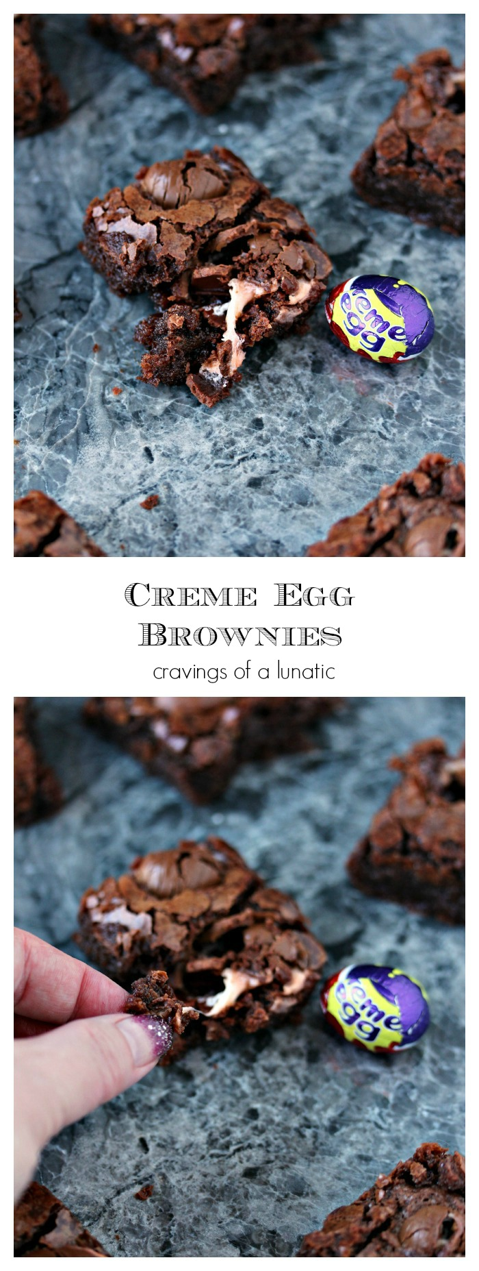 Creme Egg Brownies. Ooey, gooey, fudgy chocolate brownies filled with creme eggs. If you love creme eggs as much as we do this recipe is for YOU! Whip up a batch, or ten, this holiday season!