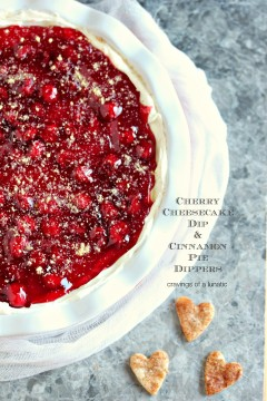 overhead image of Cherry Cheesecake Dip in a pie dish with Cinnamon Pie Dippers shaped like hearts