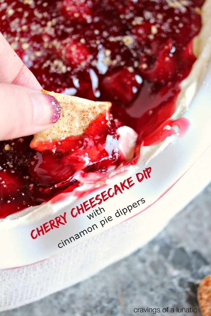 Cherry Cheesecake Dip with Cinnamon Pie Dippers from cravingsofalunatic.com. This recipe for Cherry Cheesecake Dip is super easy and addictive! Plus there is a bonus recipe for Cinnamon Pie Dippers which you can use for dipping. All made in less than 15 minutes! #cherry #cheesecake #dip #dessert