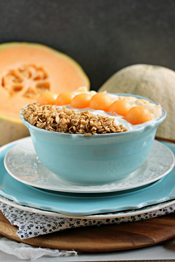 Cantaloupe Breakfast Bowl- Easy and quick recipe for a healthy breakfast using fresh cantaloupe.