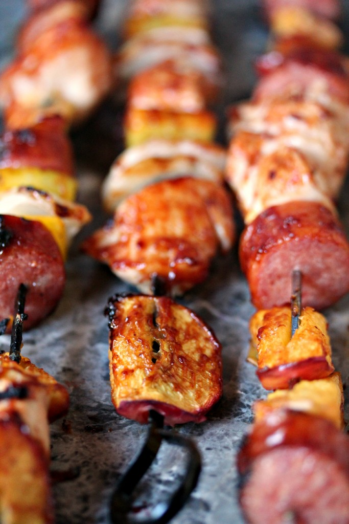 Chicken, Peach and Sausage Kebabs- Great kebab recipe you make on the grill.