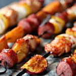 Chicken, Peach, and Sausage Kebabs