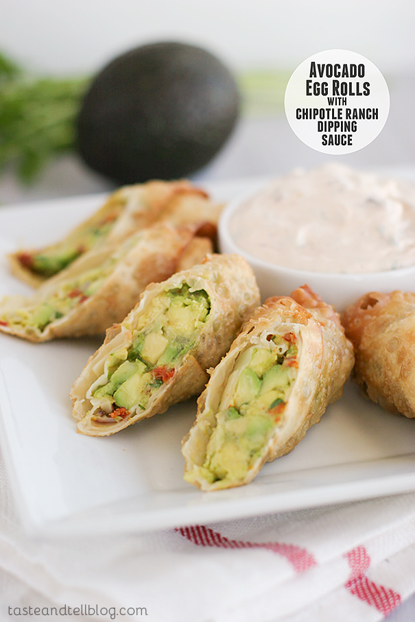 Avocado Egg Rolls with Chipotle Dipping Sauce by Taste and Tell, featured on cravingsofalunatic.com for Tailgating Time Week 4