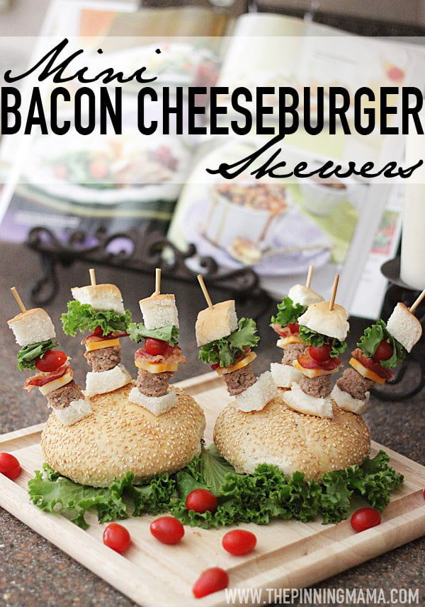 Mini Bacon Cheeseburger Skewers by The Pinning Mama