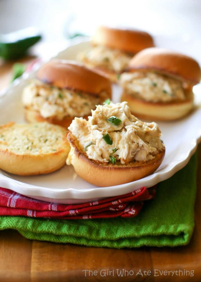 Jalapeno Popper Chicken Sliders by The Girl Who Ate Everything