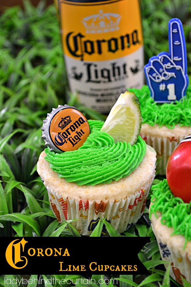 Corona Lime Cupcakes by The Lady Behind the Curtain, featured on cravingsofalunatic.com for Week 5 of our Ultimate Tailgating Series!