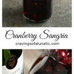 Cranberry sangria collage image featuring two images of finished sangria.