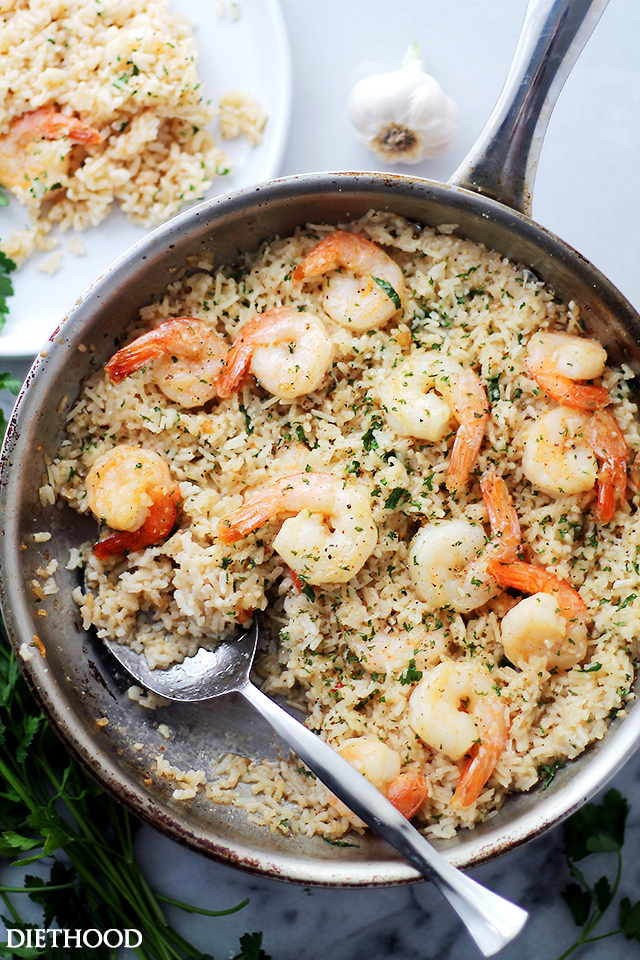 Garlic Butter Shrimp and Rice - Diethood