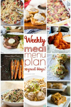 Weekly Meal Plan Week 16 - 10 great bloggers bringing you a full week of recipes including dinner, sides dishes, and desserts! Find the round up on cravingsofalunatic.com (@CravingsLunatic)