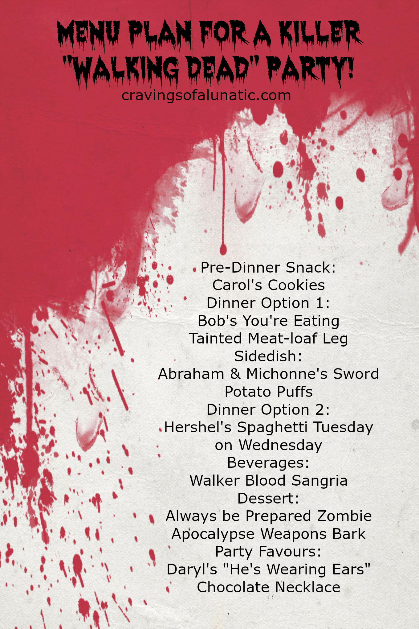 Menu Plan for a Killer Walking Dead Party courtesy of cravingsofalunatic.com