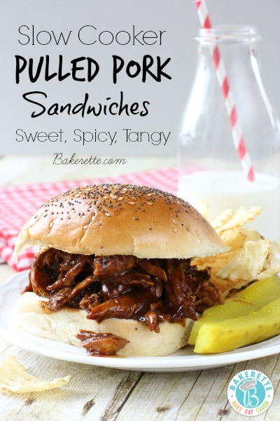 Slow Cooker Pulled Pork Sandwiches by Bakerette, featured on cravingsofalunatic.com for Week 5 of our Ultimate Tailgating Series!