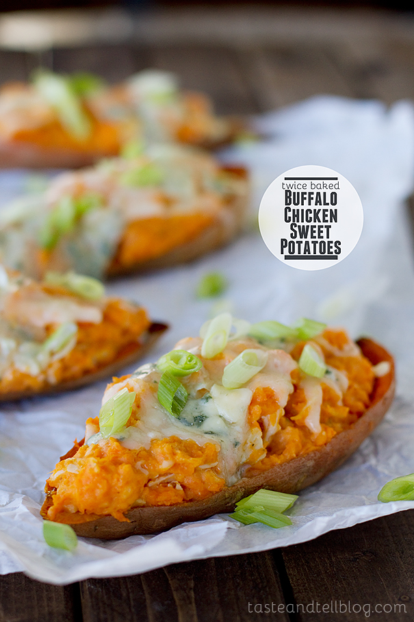 Twice Baked Buffalo Chicken Sweet Potatoes by Taste and Tell, featured on cravingsofalunatic.com for Week 5 of our Ultimate Tailgating Series!