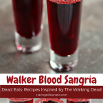 Walker Blood Sangria served in shot glasses with sugar around the rims.
