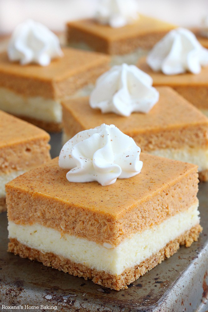 Pumpkin Cheesecake Bars by Roxana's Home Baking, featured on cravingsofalunatic.com
