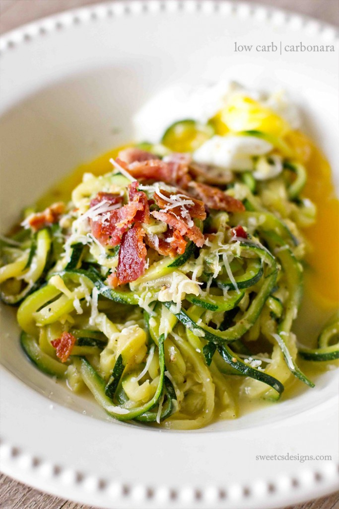 Low Carb Carbonara with Zoodles from Sweet C's Designs- featured on cravingsofalunatic.com- Weekly Meal Plan # 18! (@CravingsLunatic)