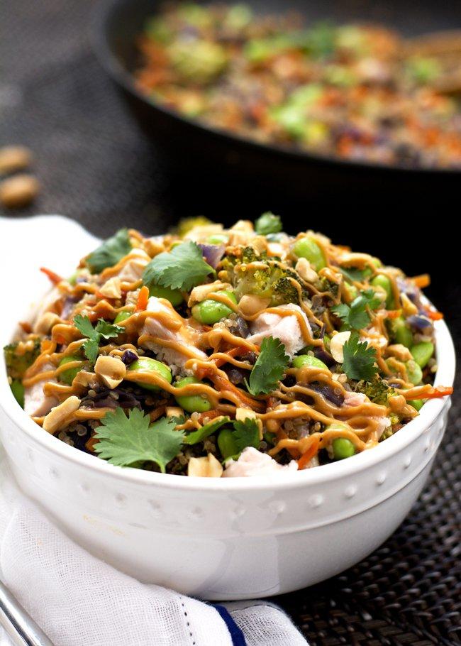 One Pot Thai Quinoa Bowl from With Salt & Wit, featured on cravingsofalunatic.com (@CravingsLunatic)