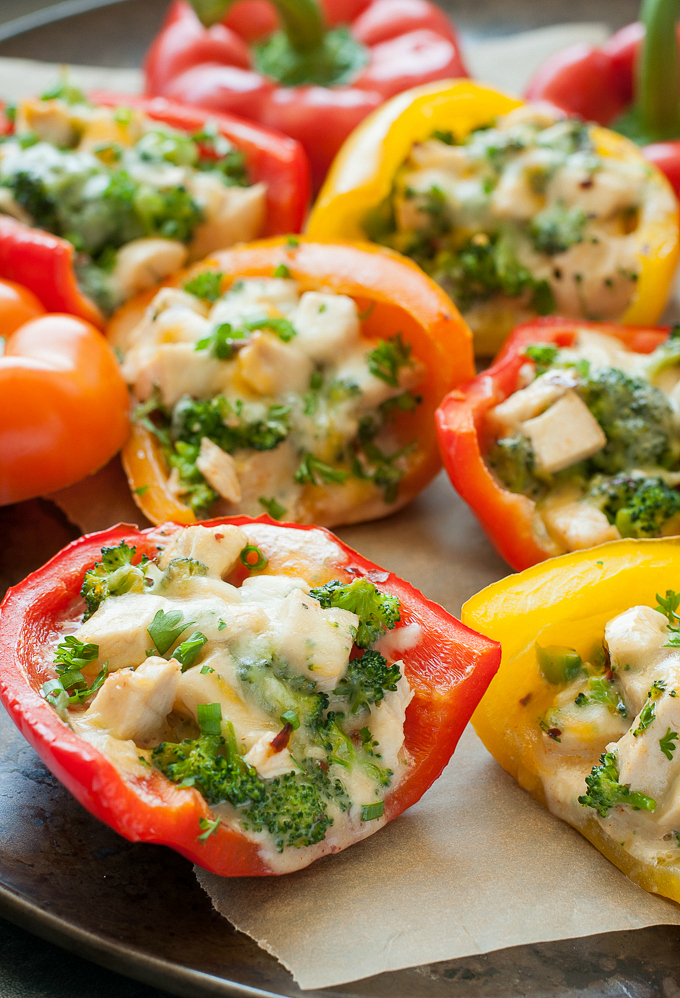 close up image of Cheesy Chicken and Broccoli Stuffed Peppers from Peas & Crayons