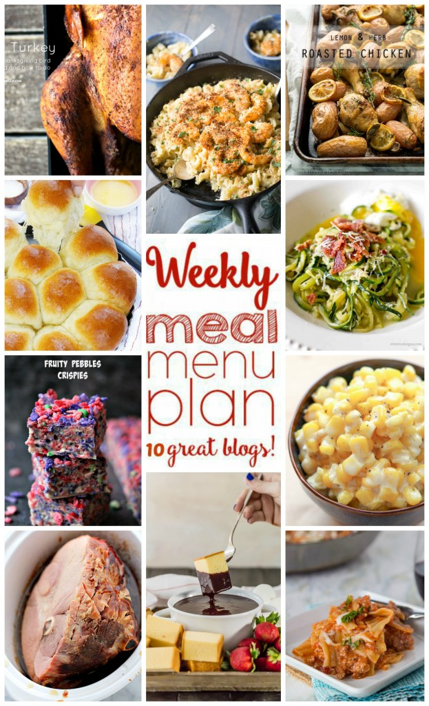 Weekly Meal Plan Week 18 found on cravingsofalunatic.com- 10 great bloggers bringing you a full week of recipes including dinner, sides dishes, and desserts! (@CravingsLunatic)