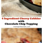 This cherry cobbler recipe is easy, quick and utterly delicious. It's topped with chocolate chip muffin mix for everyone who loves cherries with chocolate as much as I do! (@CravingsLunatic)