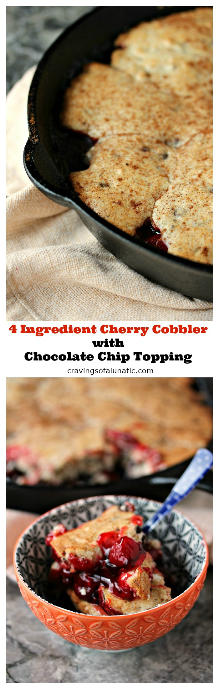 Cherry Cobbler from cravingsofalunatic.com- This cherry cobbler recipe is easy, quick and utterly delicious. It's topped with chocolate chip muffin mix for everyone who loves cherries with chocolate as much as I do! (@CravingsLunatic)