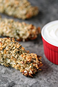 Almond Crusted Chicken Breasts with Almond Dipping Sauce from cravingsofalunatic.com- This easy recipe for Almond Crusted Chicken Strips with Almond Dipping Sauce is sure to impress your family and friends. You can whip this up in under 30 minutes, so it's a weeknight staple in our house! (@CravingsLunatic)
