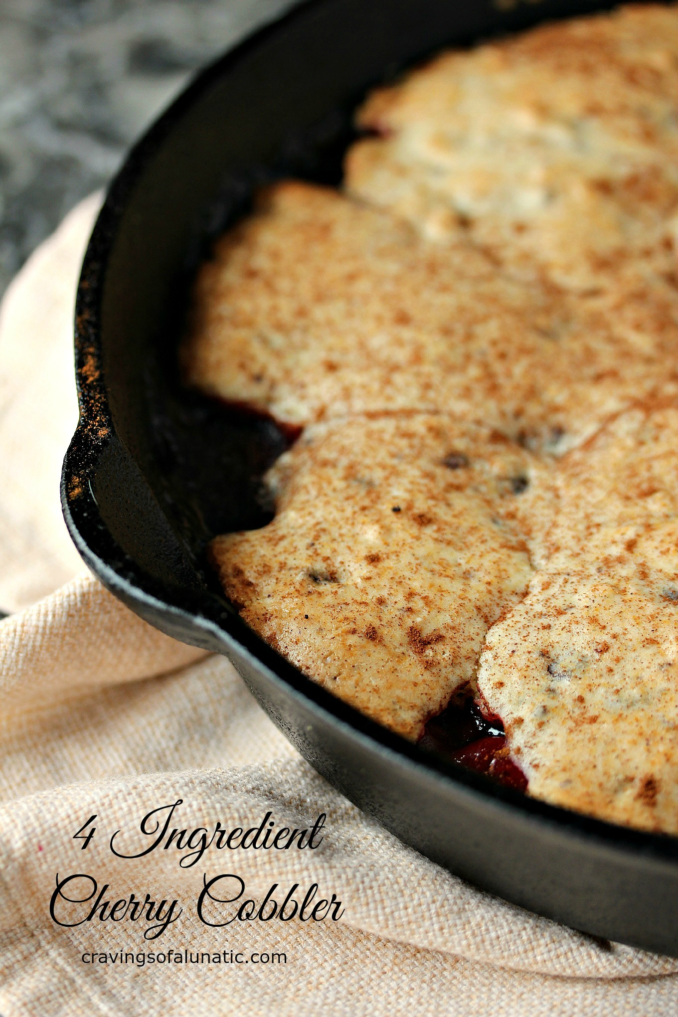 4 Ingredient Cherry Cobbler with Chocolate Chip Topping | Cravings ...