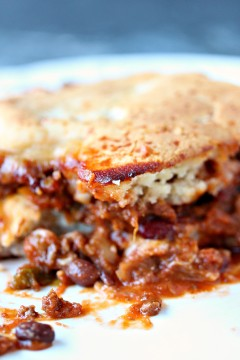 Easy Chili Cornbread Casserole on a white plate.