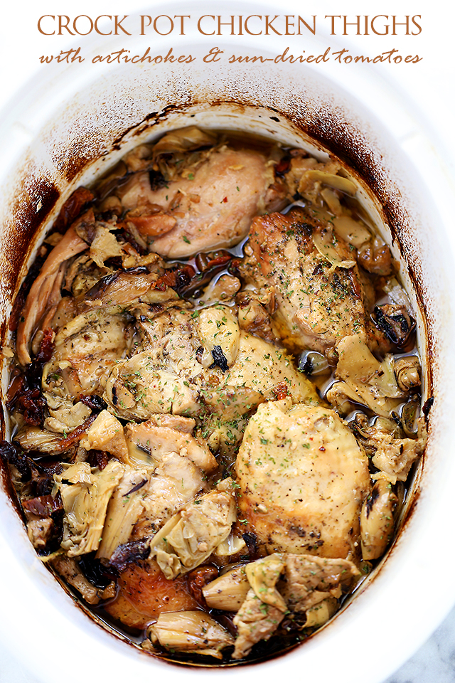 Crock Pot Chicken Thighs with Artichokes - Diethood, featured on cravingsofalunatic.com for our Weekly Meal Plan: Week 21. See more meal planning recipes on the blog. (@CravingsLunatic)