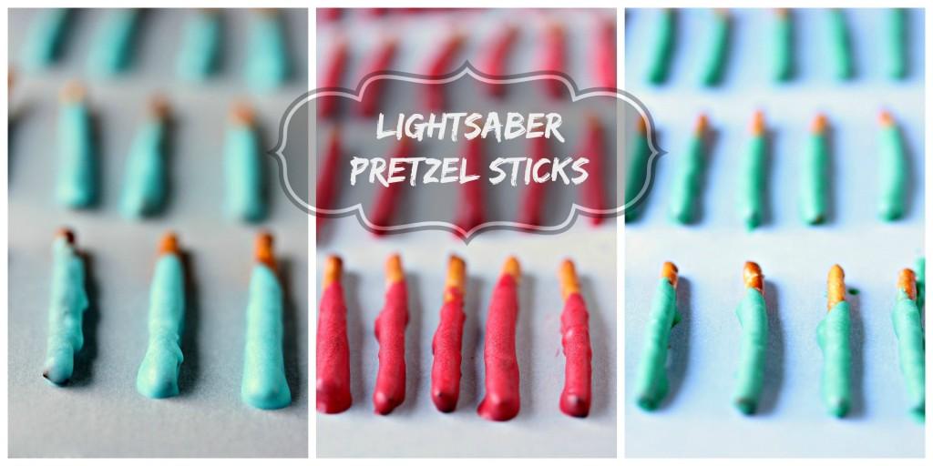 Lightsaber Pretzel Sticks from cravingsofalunatic.com- Whip up some lightsaber pretzel sticks, then toss them in my Mini Trix Cereal Jedi Snack Mix! (@CravingsLunatic)