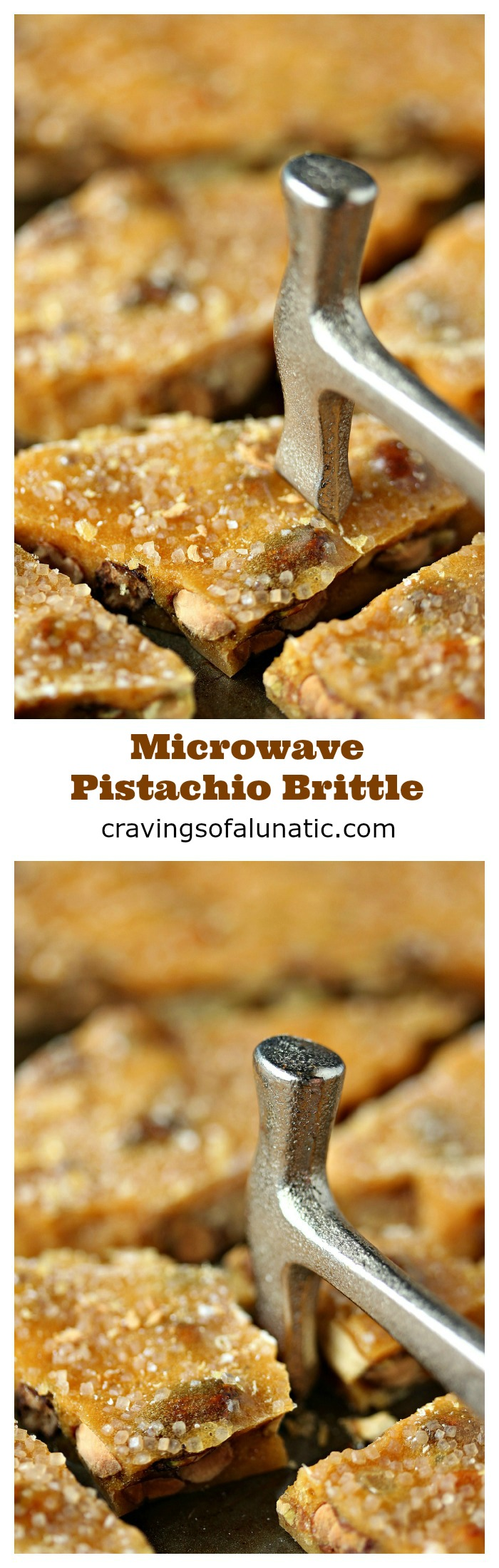 Microwave Pistachio Brittle from cravingsofalunatic.com- There is just something about homemade candy that makes me happy. This pistachio brittle recipe is made in the microwave so it's quick and easy. Less than 10 minutes to make perfect Pistachio Brittle! (@CravingsLunatic)