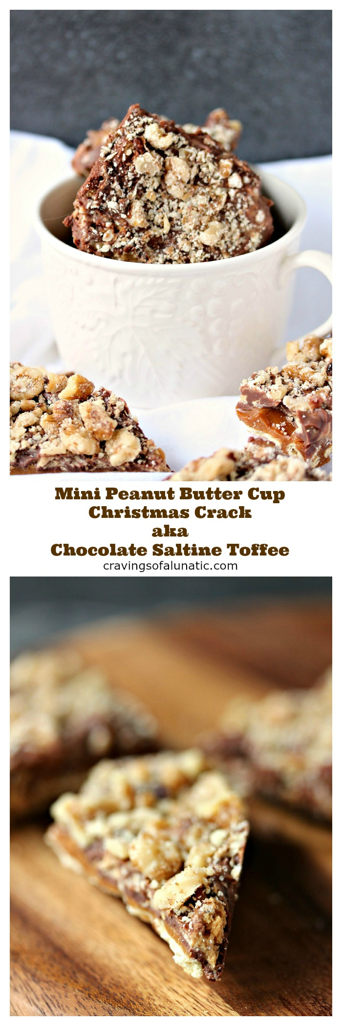 Mini Peanut Butter Cup Christmas Crack aka Chocolate Saltine Toffee from cravingsofalunatic.com- A holiday tradition known as Chocolate Saltine Toffee to some people, and more recently known as Christmas Crack. I don't care what you call it as long as you share some with me! (@CravingsLunatic)