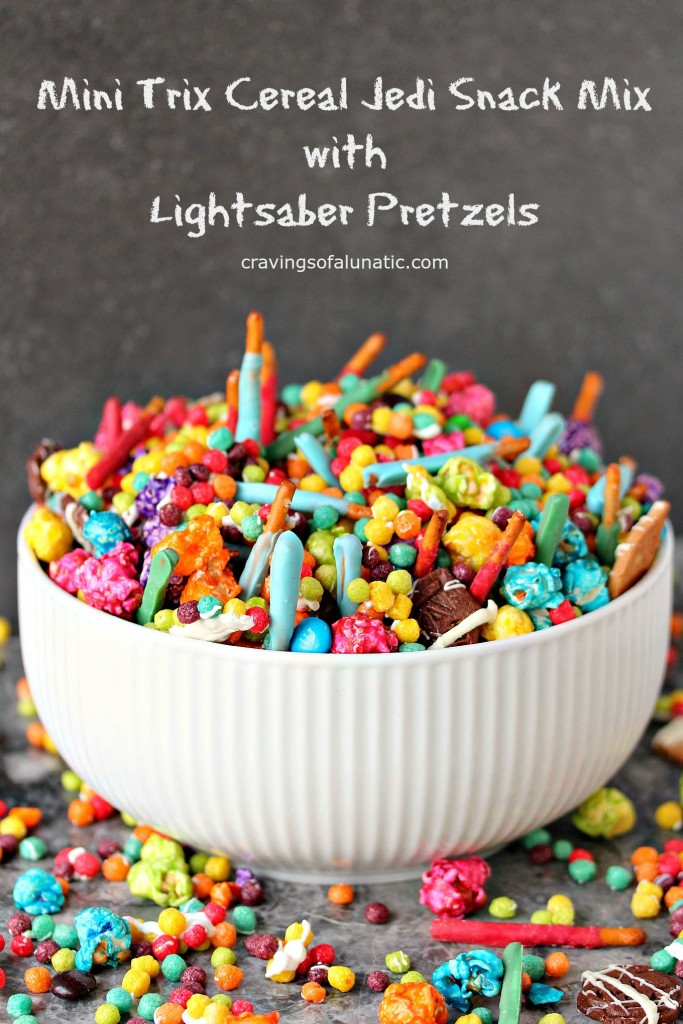 Mini Trix Cereal Jedi Snack Mix with Lightsaber Pretzels by cravingsofalunatic.com- This Jedi Snack Mix uses Mini Trix Cereal, Pretzels made into Lightsabers, coloured popcorn, tiny wafer cookies and M&M Candies. It's the perfect snack for the premiere of Star Wars: The Force Awakens! May the force be with you! (@CravingsLunatic)Lightsaber Pretzel Sticks from cravingsofalunatic.com- Whip up some lightsaber pretzel sticks, then toss them in my Mini Trix Cereal Jedi Snack Mix! (@CravingsLunatic)