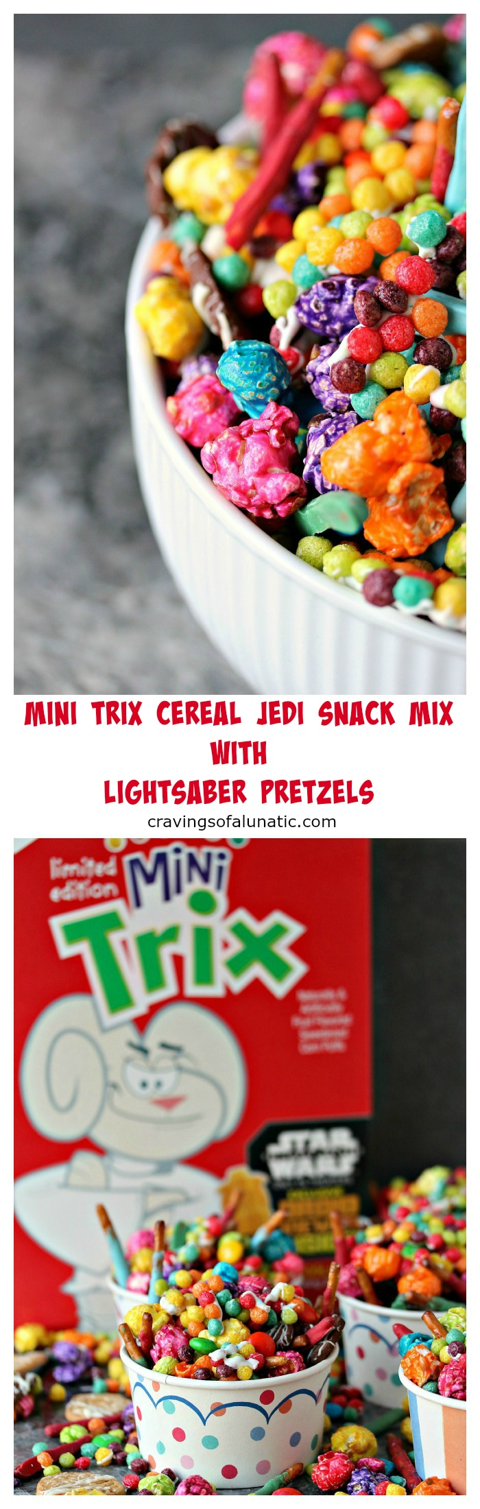 Mini Trix Cereal Jedi Snack Mix with Lightsaber Pretzels by cravingsofalunatic.com- This Jedi Snack Mix uses Mini Trix Cereal, Pretzels made into Lightsabers, coloured popcorn, tiny wafer cookies and M&M Candies. It's the perfect snack for the premiere of Star Wars: The Force Awakens! May the force be with you! (@CravingsLunatic)