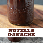 Nutella ganache pinterest collage image featuring two images of the chocolate frosting