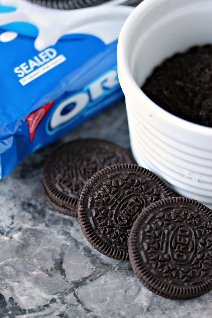 Oreo Cookies getting prepped to make Oreo balls!
