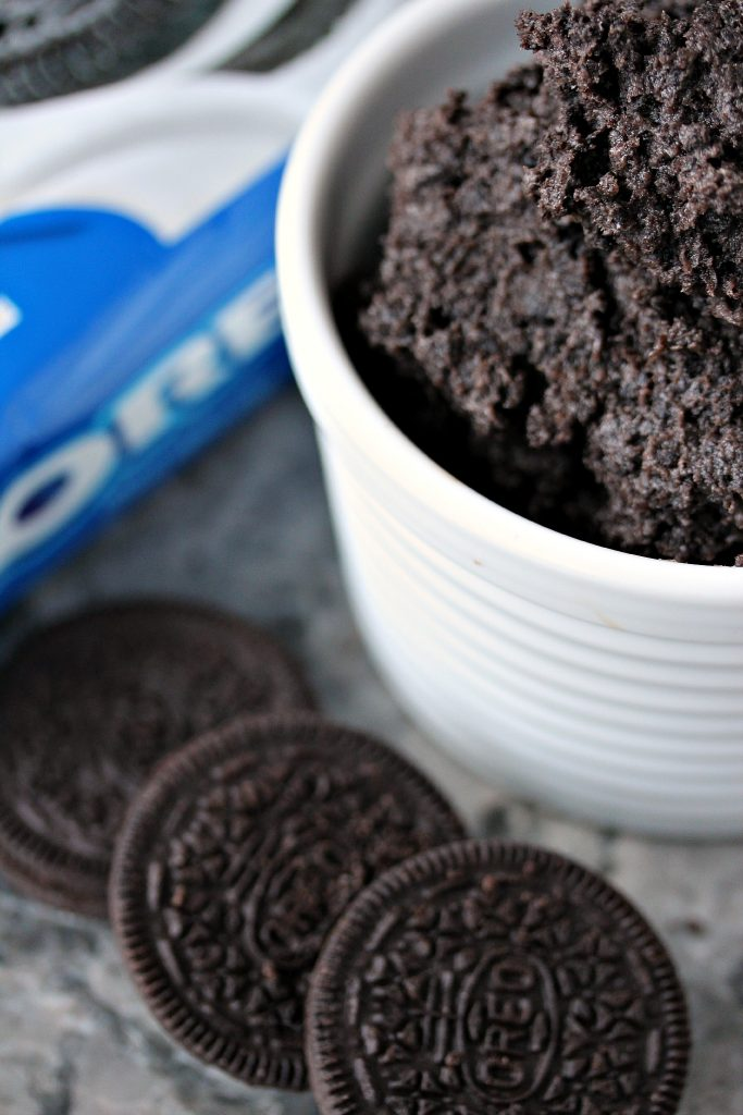 Crushed Oreo cookies mixed with cream cheese.