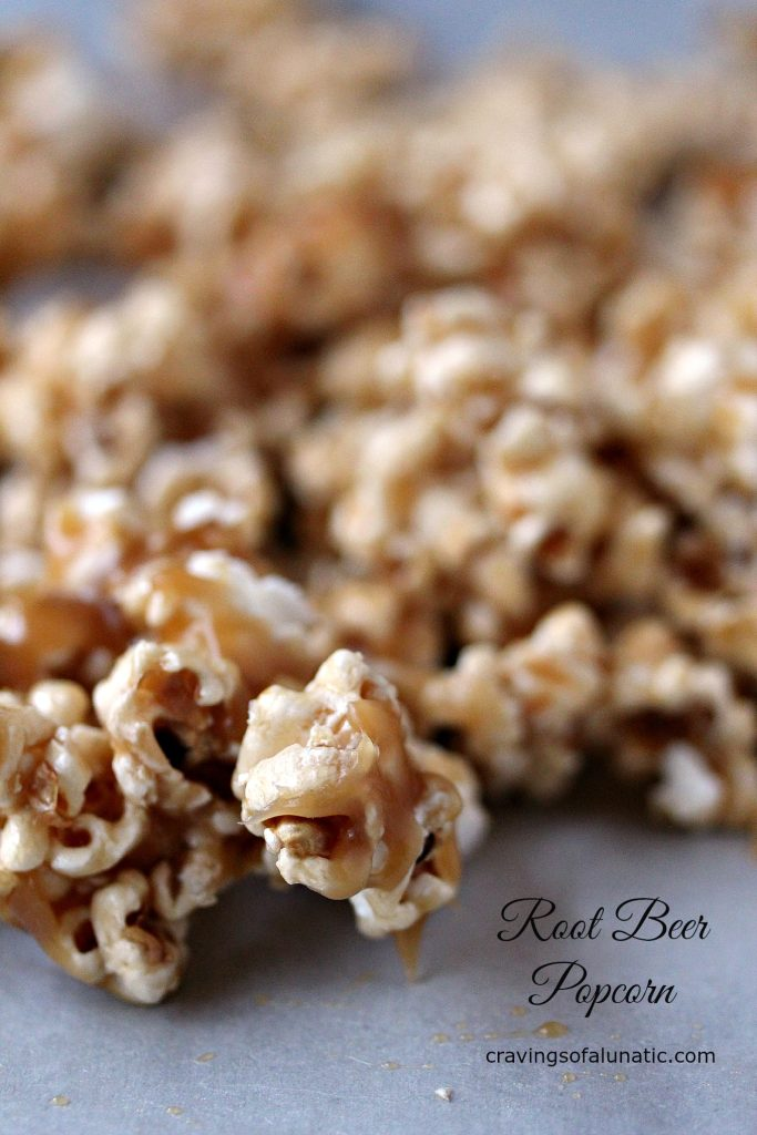 root beer popcorn on parchment paper