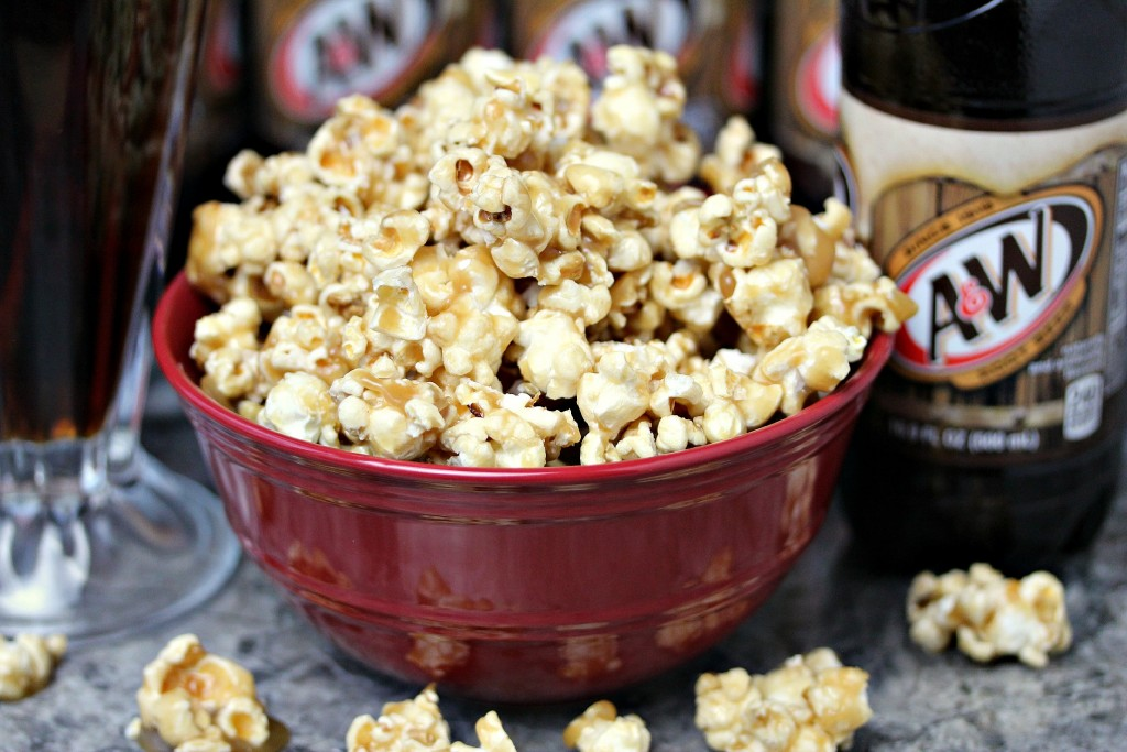 Root Beer Popcorn in a red bowl