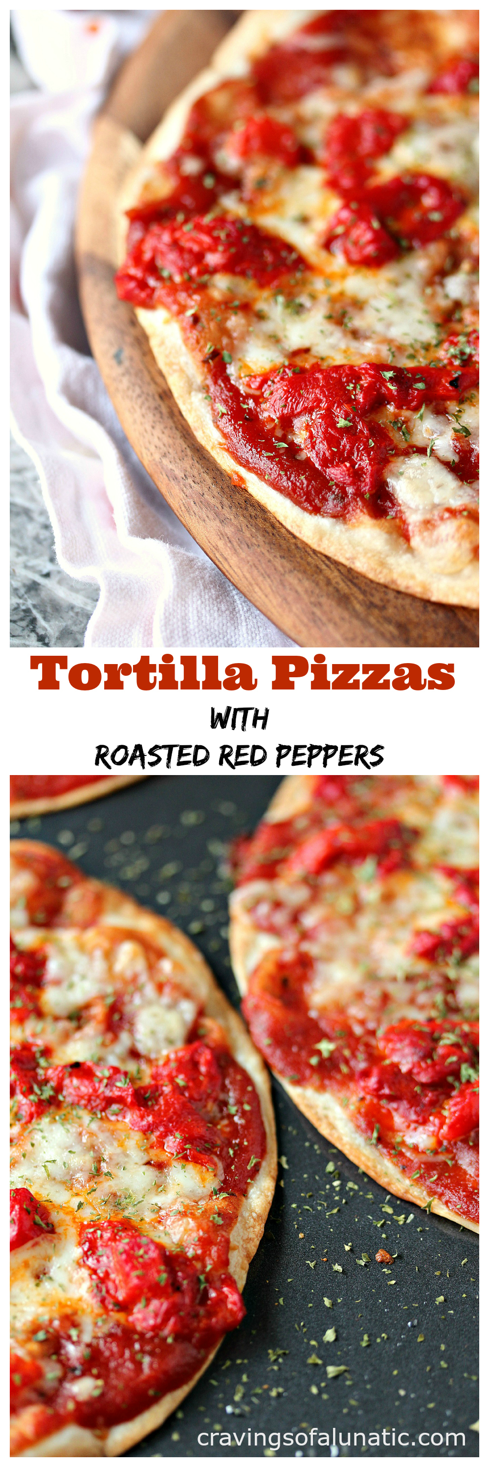 Tortilla Pizzas with Roasted Red Peppers from cravingsofalunatic.com- This recipe is perfect for busy nights where you want a delicious meal in a snap. It's incredibly easy to make and full of flavour. Whip up some Tortilla Pizzas with Roasted Red Peppers today. (@CravingsLunatic)
