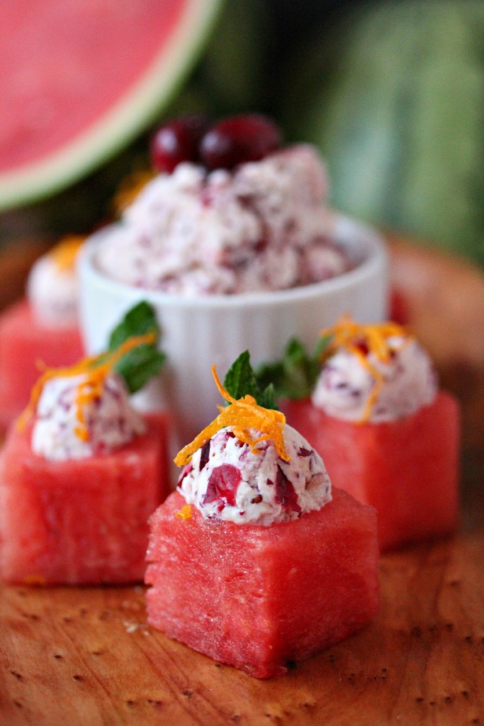 Watermelon Cups with Cranberry Mascarpone from cravingsofalunatic.com- This recipe puts a winter spin on watermelon. Think outside the box when it comes to easy appetizers. These watermelon cups are filled with Cranberry Mascarpone and garnished to perfection! (@CravingsLunatic)