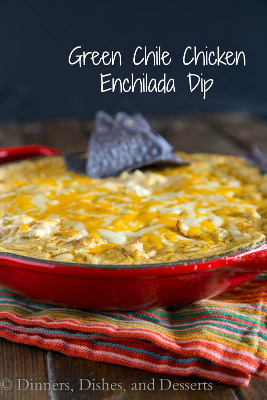 Green Chili Chicken Enchilada Dip from Dinners, Dishes, and Desserts, featured on cravingsofalunatic.com for our weekly meal plan, week 29. Swing by the blog every Saturday for more great meal plans. (@CravingsLunatic)