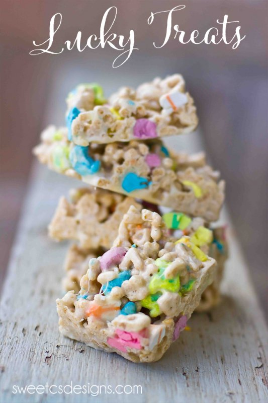 Lucky Charms Treats from Sweet C's Designs, featured on cravingsofalunatic.com for our weekly meal plan, week 29. Swing by the blog every Saturday for more great meal plans. (@CravingsLunatic)