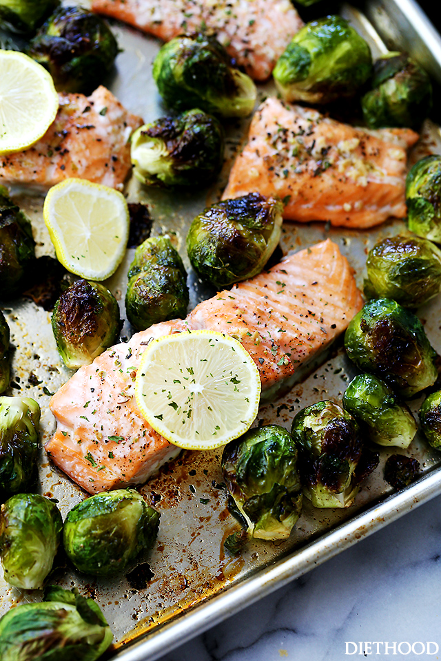 One Sheet Pan Garlic Roasted Salmon with Brussels Sprouts from Diethood, featured on cravingsofalunatic.com for our weekly meal plan, week 29. Swing by the blog every Saturday for more great meal plans. (@CravingsLunatic)