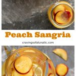 Peach Sangria served in a glass pitcher and mason jars.