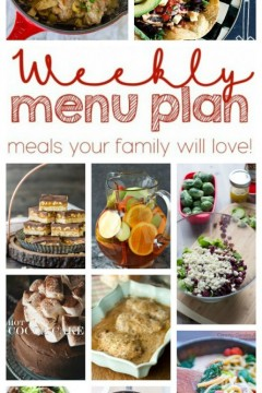 Weekly Meal Plan Week 28 from cravingsofalunatic.com- 10 great bloggers bringing you a full week of recipes including dinner, sides dishes, and desserts! (@CravingsLunatic)