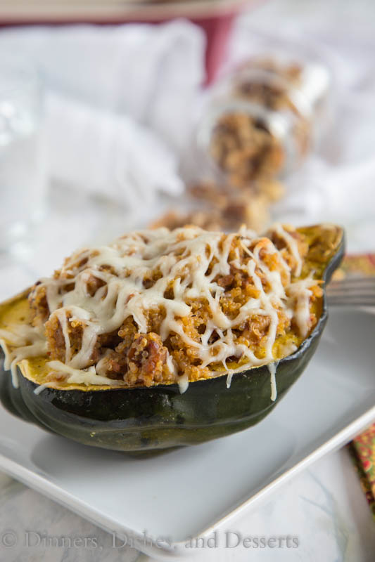 Quinoa and Sausage Stuffed Acorn Squash - Dinners, Dishes and Desserts, featured on cravingsofalunatic.com for our Weekly Meal Plan, Week 25. (@CravingsLunatic)
