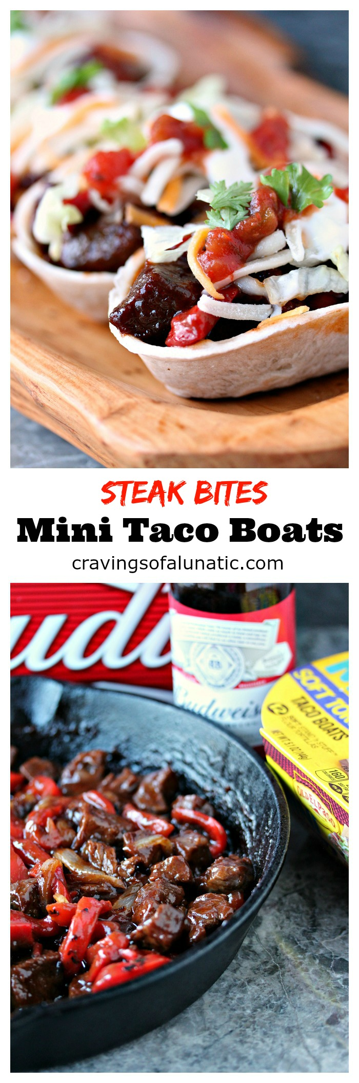 Steak Bites Mini Taco Boats from cravingsofalunatic.com- This taco recipe uses steak marinated in beer, then cooked to perfection in a cast iron skillet, and topped with Barbecue Sauce. It's Tex-Mex in mini form. Every bite is full of flavour. (@CravingsLunatic)